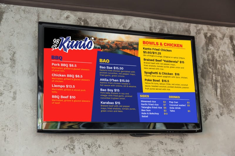 Kanto food menu
