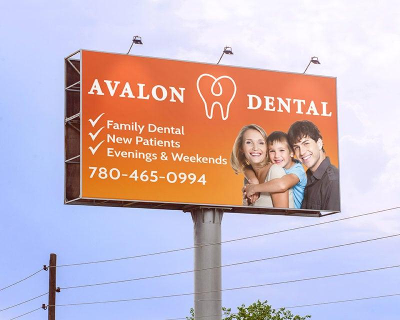 Avalon dental family bill board edmonton