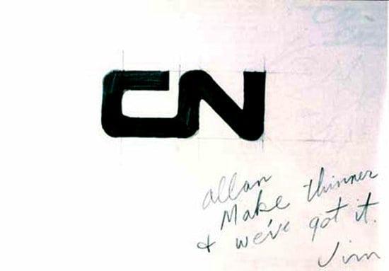 CN logo napkin sketch
