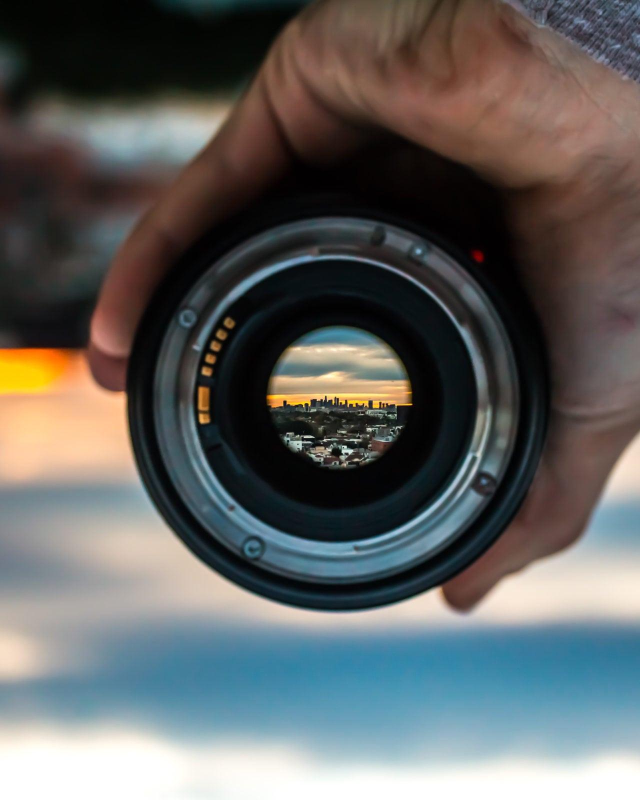 view through a lens