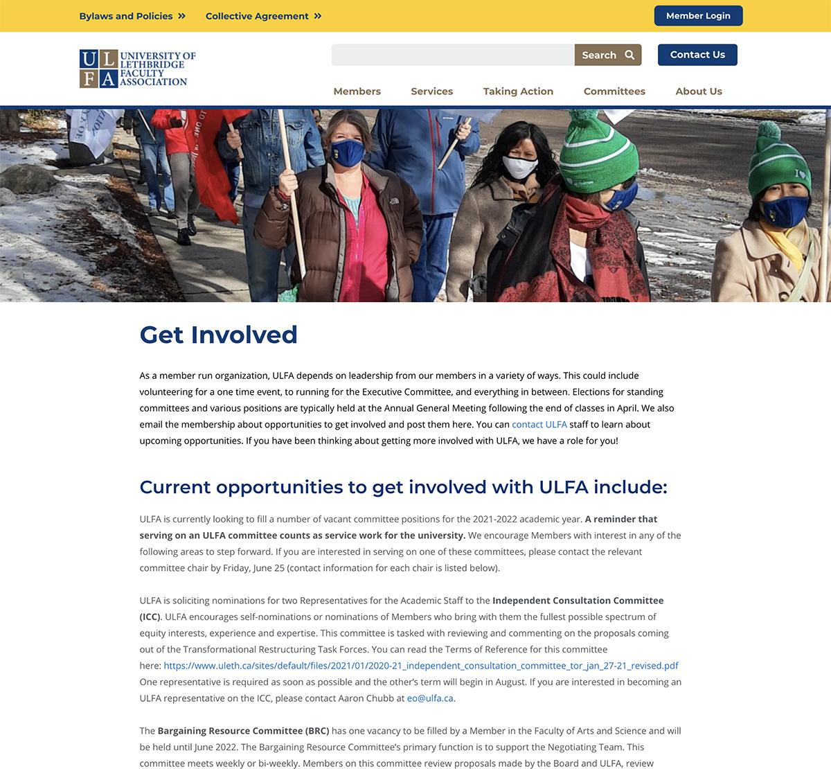ULFA Get Involved Page